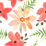Vector floral seamless pattern with flowers in watercolor. Desig. N for print, wallpaper, textile Royalty Free Stock Image