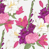 Vector floral seamless pattern with gladiolus flowers, lilies and roses Royalty Free Stock Photo