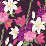 Vector floral seamless pattern with gladiolus flowers, lilies and roses. In vintage style Royalty Free Stock Photos