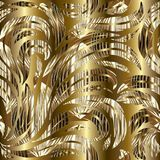 Vector floral seamless pattern. Gold leafy abstract background w Royalty Free Stock Photos