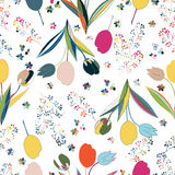 Vector Floral Seamless Pattern. Hand Drawn Fashion Illustration Stock Image