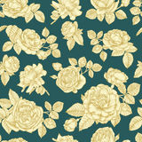 Vector floral seamless pattern with hand drawn gold roses. In vintage style Royalty Free Stock Image