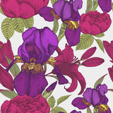 Vector floral seamless pattern with hand drawn iris, lilies and roses. Stock Images