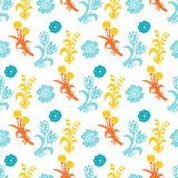 Vector floral seamless pattern. Handdrawn botanical backdrop.  Royalty Free Stock Photo