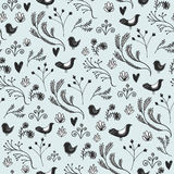 Vector floral seamless pattern with leaves, birds and flowers. Use as background, design decoration, wallpapers, fabric Royalty Free Stock Images