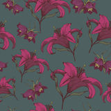 Vector floral seamless pattern with Lilies and Fritillaria. In vintage style. Floral background Stock Photo
