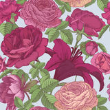 Vector floral seamless pattern with lilies, peonies, red and pink roses Stock Images