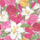 Vector floral seamless pattern with lilies and roses Stock Image