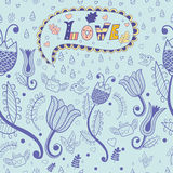 Vector floral seamless pattern. love. stock illustration