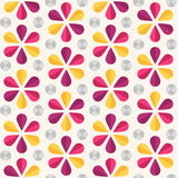 Vector floral seamless pattern, origami style. Vector abstract seamless pattern with bright origami flowers and dots, 60s vintage retro style Stock Photo