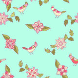 Vector floral seamless pattern. Ornamental flowers and birds. Royalty Free Stock Photos