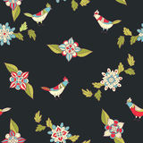 Vector floral seamless pattern. Ornamental flowers and birds. Stock Photography
