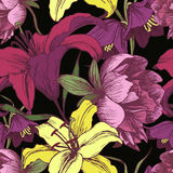 Vector floral seamless pattern with peonies, lilies. In vintage style Stock Images