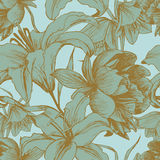 Vector floral seamless pattern with peonies, lilies Royalty Free Stock Photography