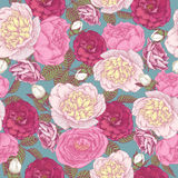 Vector floral seamless pattern with peonies and roses Royalty Free Stock Photo