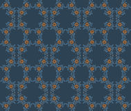 Vector floral seamless pattern with plants on a dark blue background. Seamless Flower illustration Floral Pattern Texture Art Royalty Free Stock Image