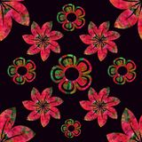 Vector floral seamless pattern, red and green, plain black background. Vector, floral seamless pattern, red and green, plain black background, fashion, textile vector illustration