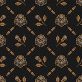 Vector floral seamless pattern Roses line art style Royalty Free Stock Image