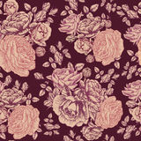 Vector floral seamless pattern with roses and persian buttercup Royalty Free Stock Photography
