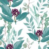 Vector floral seamless pattern with wild berries branch, grasses, eucalyptus in mint green colors. Vintage white background vector illustration