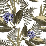 Vector floral seamless pattern with wild berries branch, grasses, fern in dark green colors. Vintage white background stock illustration