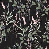 Vector floral seamless pattern with wild meadow flowers, herbs, grasses and branch of berries. Thin delicate line silhouettes of different. Black background royalty free illustration