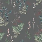 Vector floral seamless pattern with wild meadow flowers, herbs, grasses, leaves and branch of berries. Thin delicate line silhouettes of different plants stock illustration