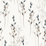 Vector floral seamless pattern with wild meadow flowers, herbs and grasses. Thin delicate line silhouettes of different plants like dill vector illustration