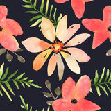 Vector Floral Seamless Pattern With Flowers In Watercolor. Desig Royalty Free Stock Image