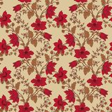 Vector floral seamless with red flower Stock Photography