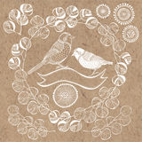 Vector floral set with birds. Hand drawn doodle collection with Royalty Free Stock Images
