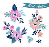 Vector floral set. Colorful floral collection with leaves and flowers hand drawn. Stock Photos