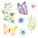 Vector floral set.Colorful purple floral collection with leaves and flowers stock illustration