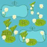 Vector floral set with lotus Royalty Free Stock Images