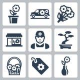 Vector floral shop icons set vector illustration