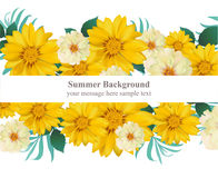Vector floral Summer card. Hot template design with palm leaves and sunflowers and exotic flowers. Vector floral Summer card. Hot template design with palm Stock Images