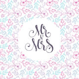 Vector floral template for wedding cards 'Mr and Mrs'  on delica Royalty Free Stock Photography