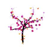 A vector floral tree illustration Royalty Free Stock Photos