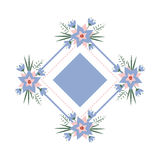 Vector floral vignette in the form of a rhombus. Delicate floral frame for invitations, cards, stickers for wedding Royalty Free Stock Photography