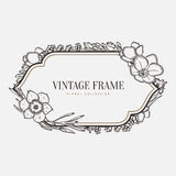 Vector floral vintage frame. Retro style graphic Royalty Free Stock Images