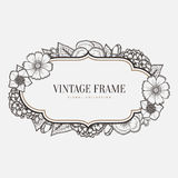 Vector floral vintage frame. Retro style graphic Stock Photography