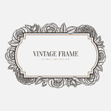 Vector floral vintage frame. Retro style graphic Royalty Free Stock Photography