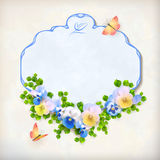 Vector Floral Vintage Pansy Flower Card Royalty Free Stock Photos