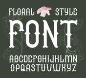 Vector floral vintage style font. Elegant Flower Alphabet.  Royalty Free Stock Photo