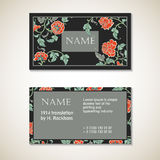 Vector Floral Visit Card Template Stock Photography