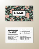 Vector floral visit card template. On beige background Stock Image