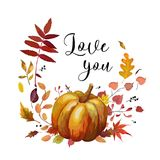 Vector floral watercolor style Autumn card design: orange Pumpkin yellow brown red forest oak rowan birch fall leaves mix. stock illustration