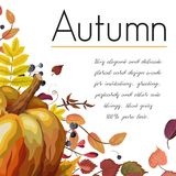 Vector floral watercolor style card design Autumn: pumpkin color. Ful fall orange yellow brown red leaves herb forest  natural berries background. Greeting Royalty Free Stock Photography