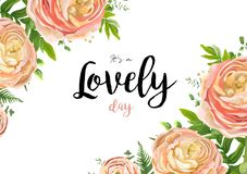 Vector floral watercolor style card design: pink peach rose Ranu. Nculus flowers Eucalyptus greenery, fern frond leaves natural frame beauty border. Vector Stock Photos