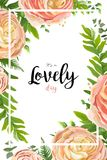 Vector floral watercolor style card design: pink peach rose Ranu. Nculus flowers Eucalyptus greenery, fern frond leaves natural frame, border. Vector invite Royalty Free Stock Image